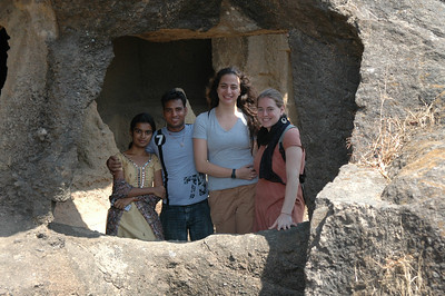Akshata, Dilip, Renata and Cheryl at the Kanheri Caves