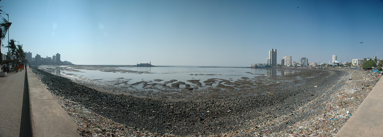 Panoramic of the bay where Haji Ali Mosque is located in Mumbai - 11 photos taken with a D70 (17-55mm F2.8 AFS Lens) stitched in Photoshop CS3