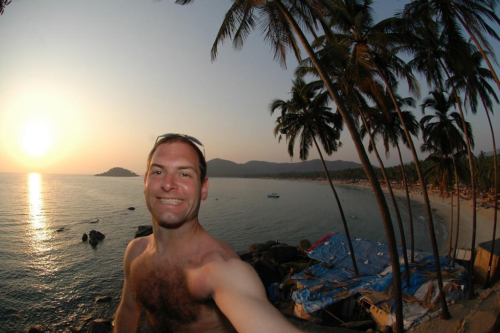 Jon Deutsch watching the sun set over Palolem Beach