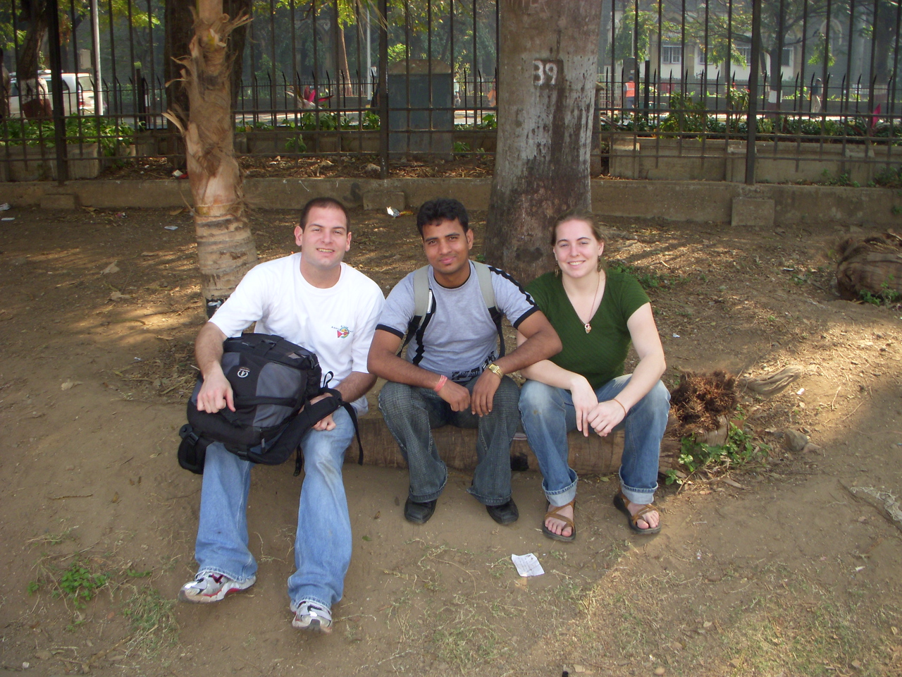 Jon, Dilip and Cheryl watching Cricket games at Shivaji Park