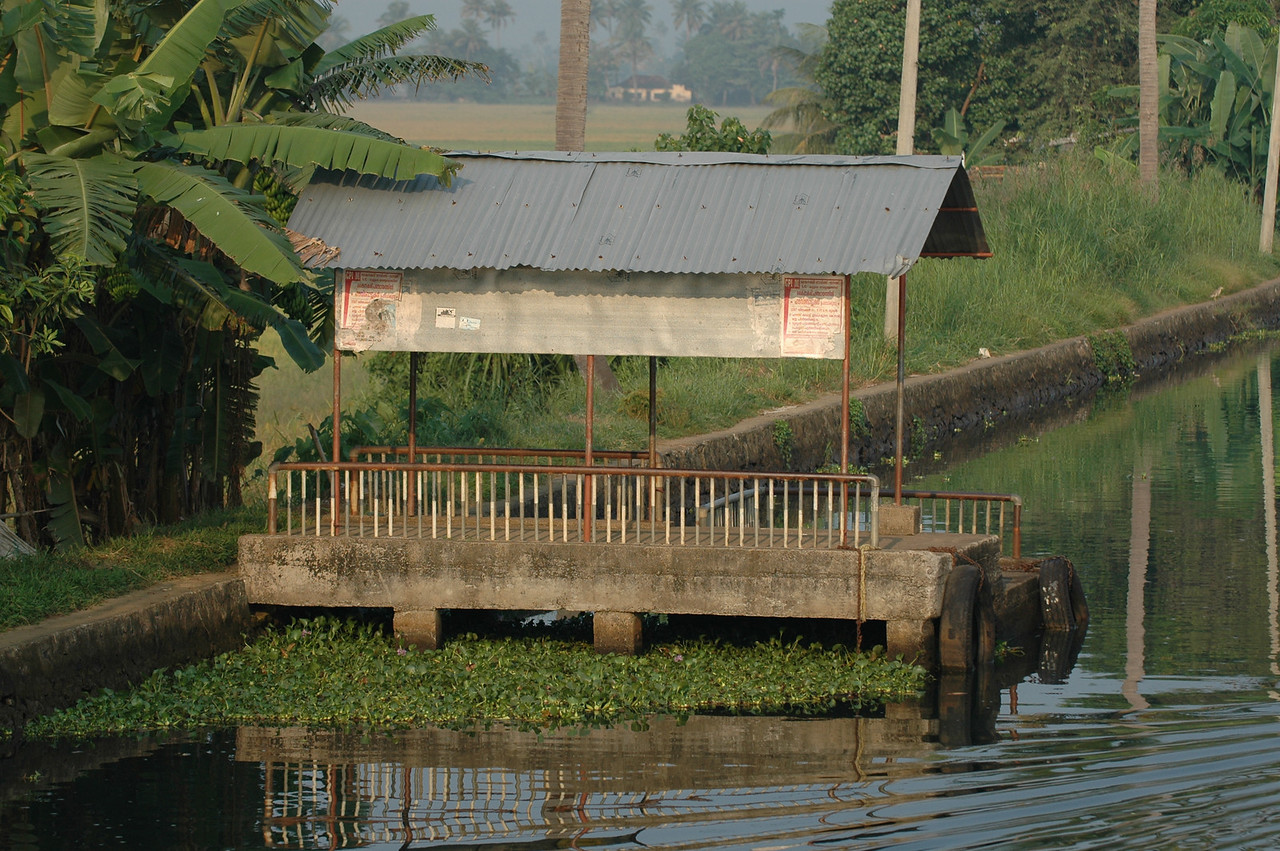 A typical bus stop along the backwaters of Kerala