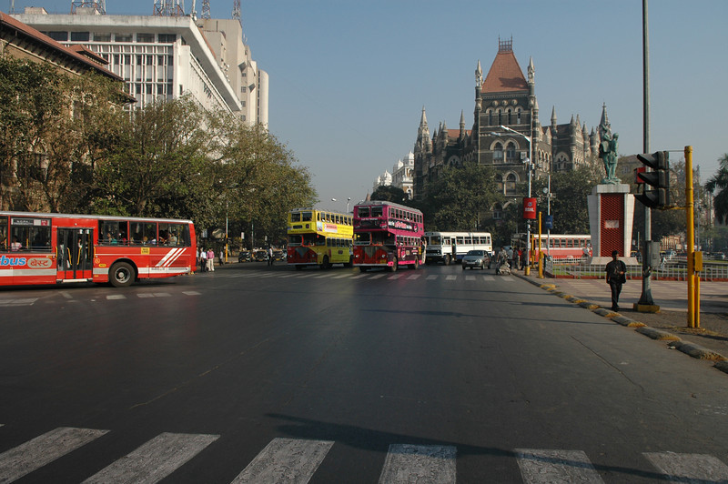 Buses on the streets of Mumbai