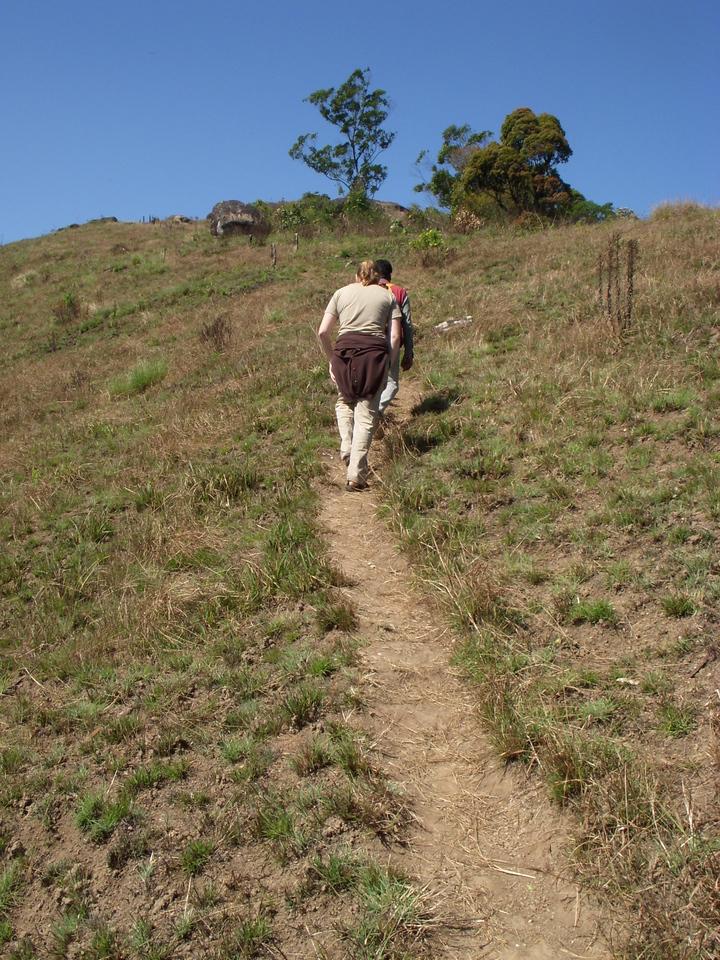 Cheryl trekking in Munnar