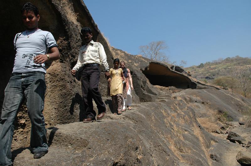 Dilip, Akshata and Cheryl at the Kanheri Caves