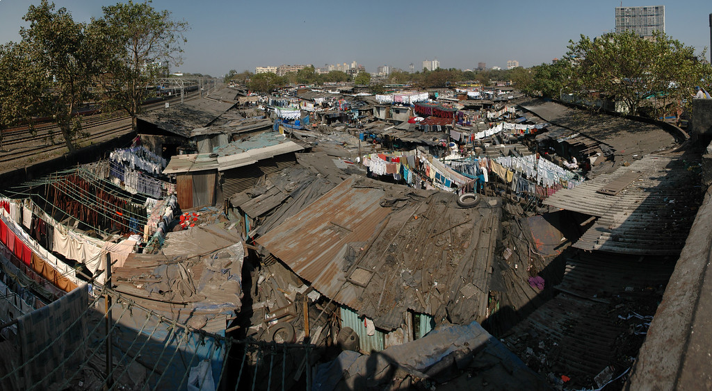 Washing clothes at Dhobi Ghat in Mumbai - 7 photos taken with a D70 (17-55mm F2.8 AFS Lens) stitched in Photoshop CS3
