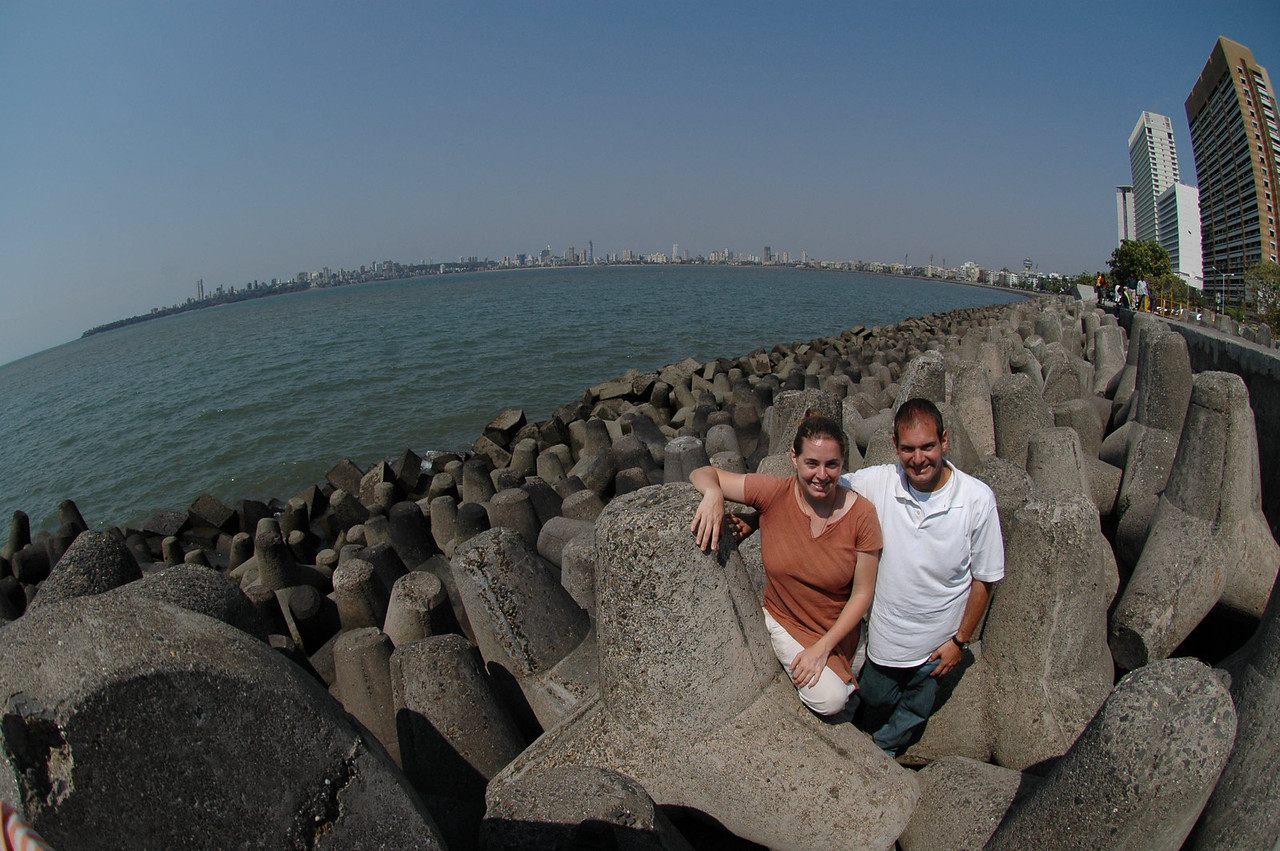 Cheryl and Jon at the end of Marine Drive in Mumbai