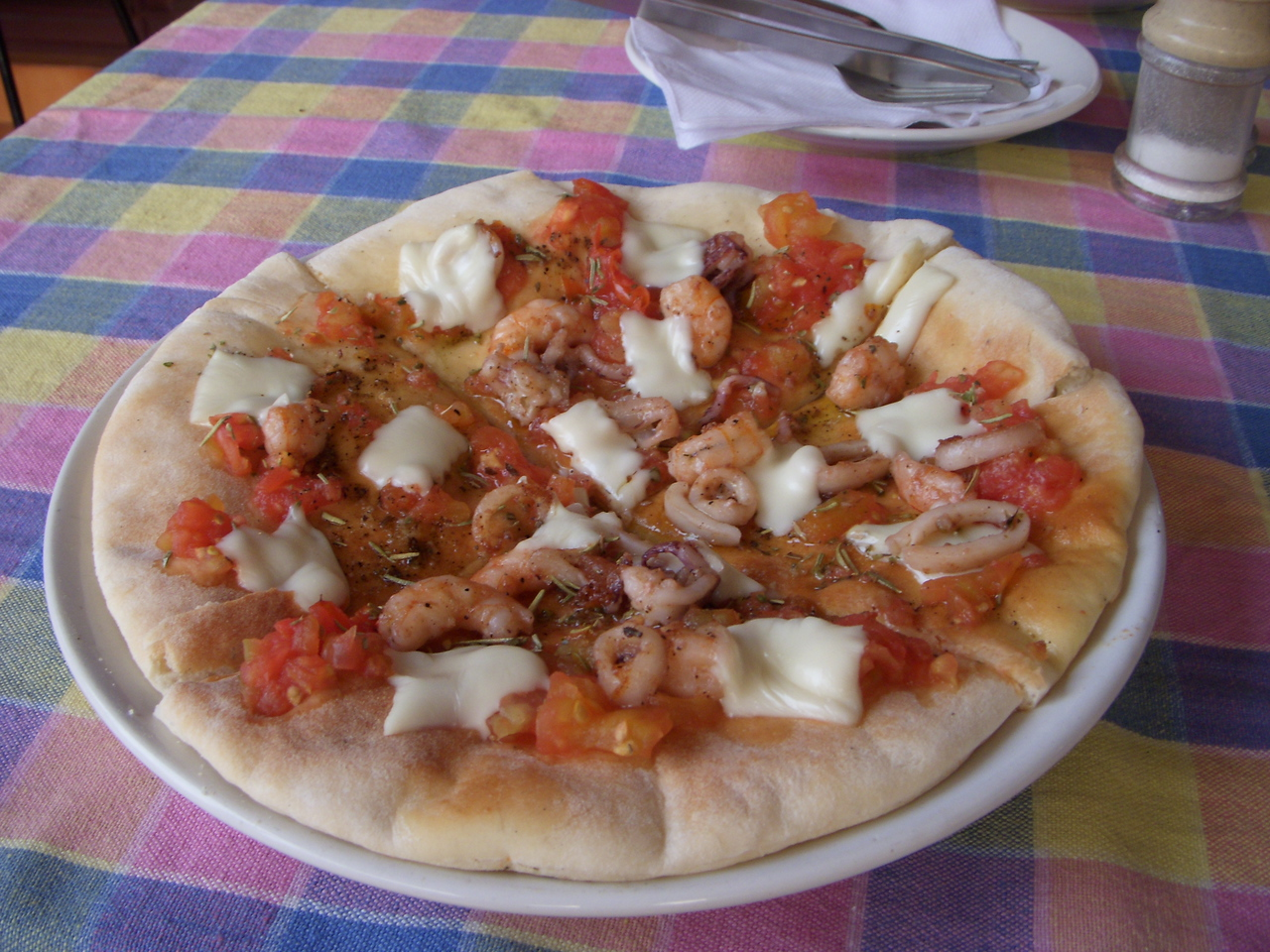My favorite meal of the whole trip: Sea Food Pizza at Casa Linda in Fort Cochin