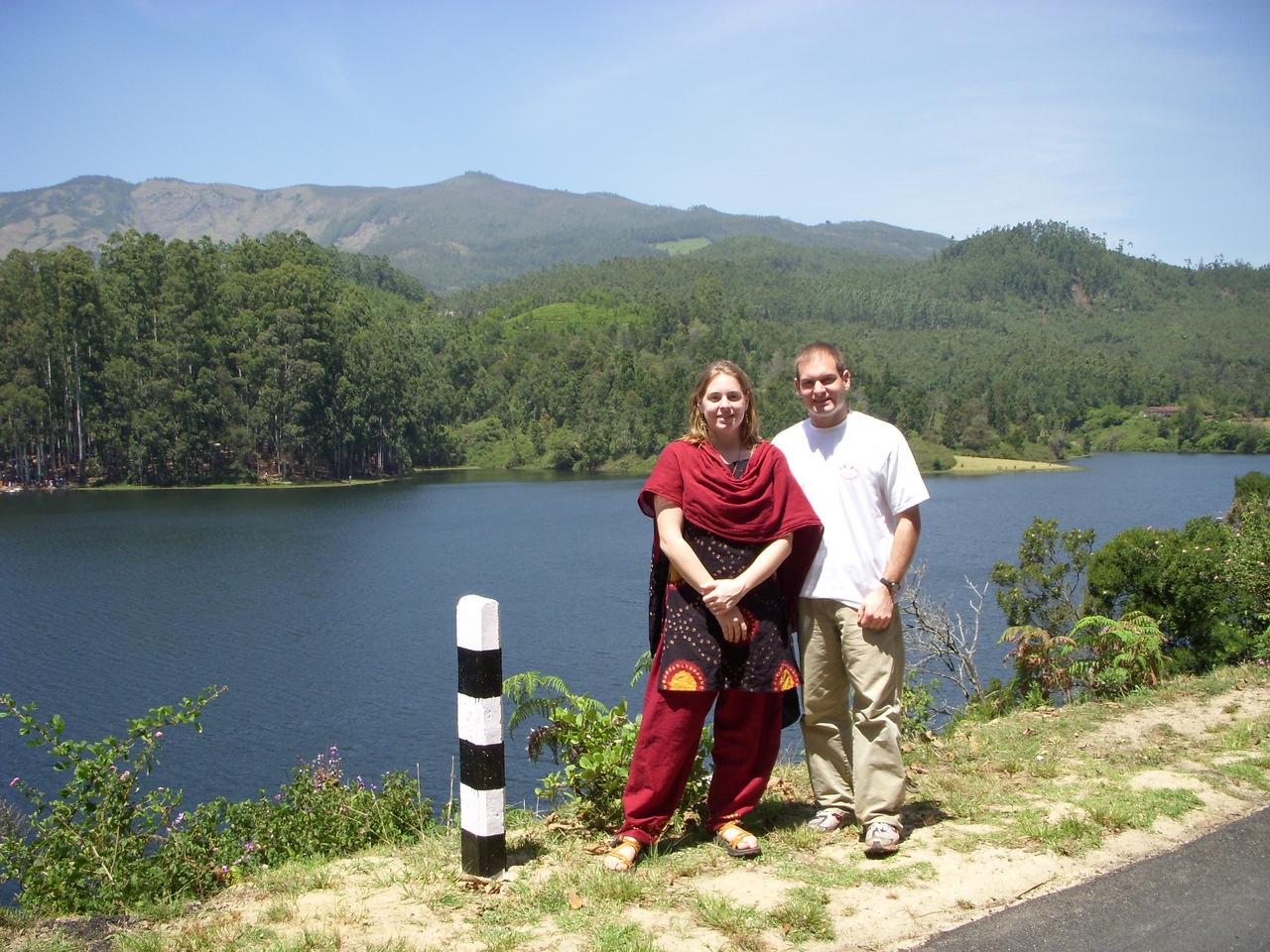 Cheryl and Jon next to a lake near Munnar