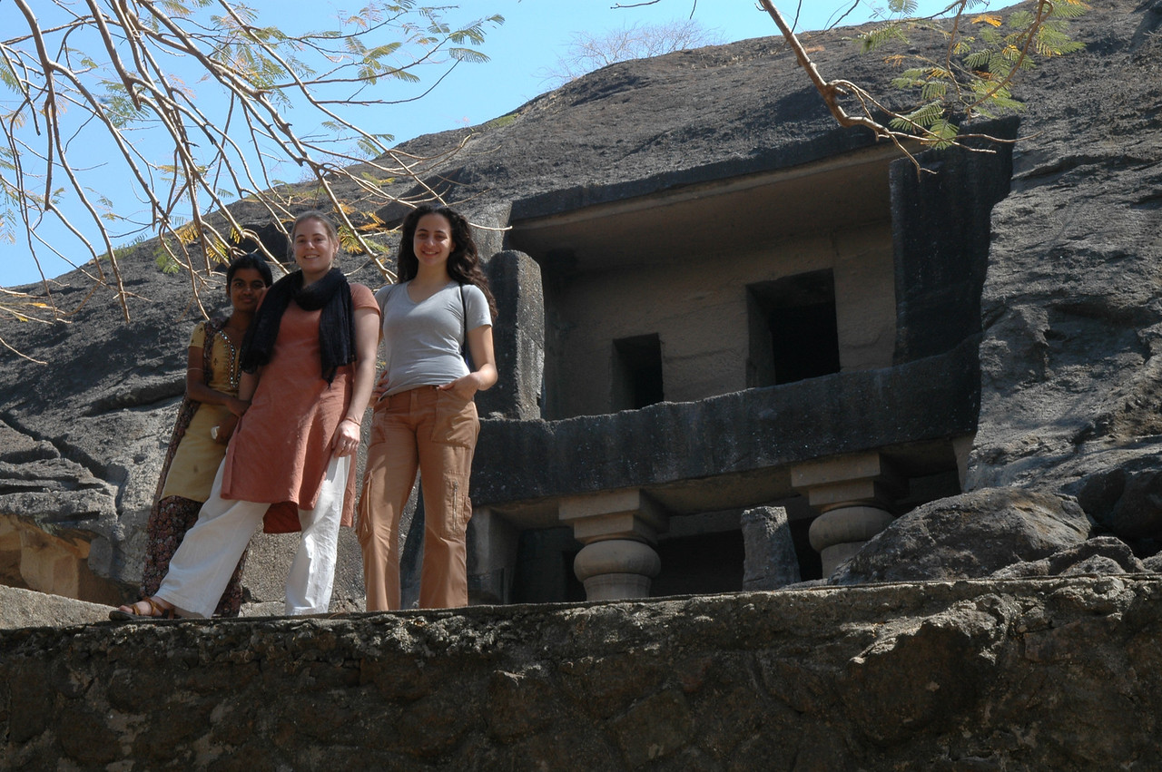 Akshata, Cheryl and Renata at the Kanheri Caves