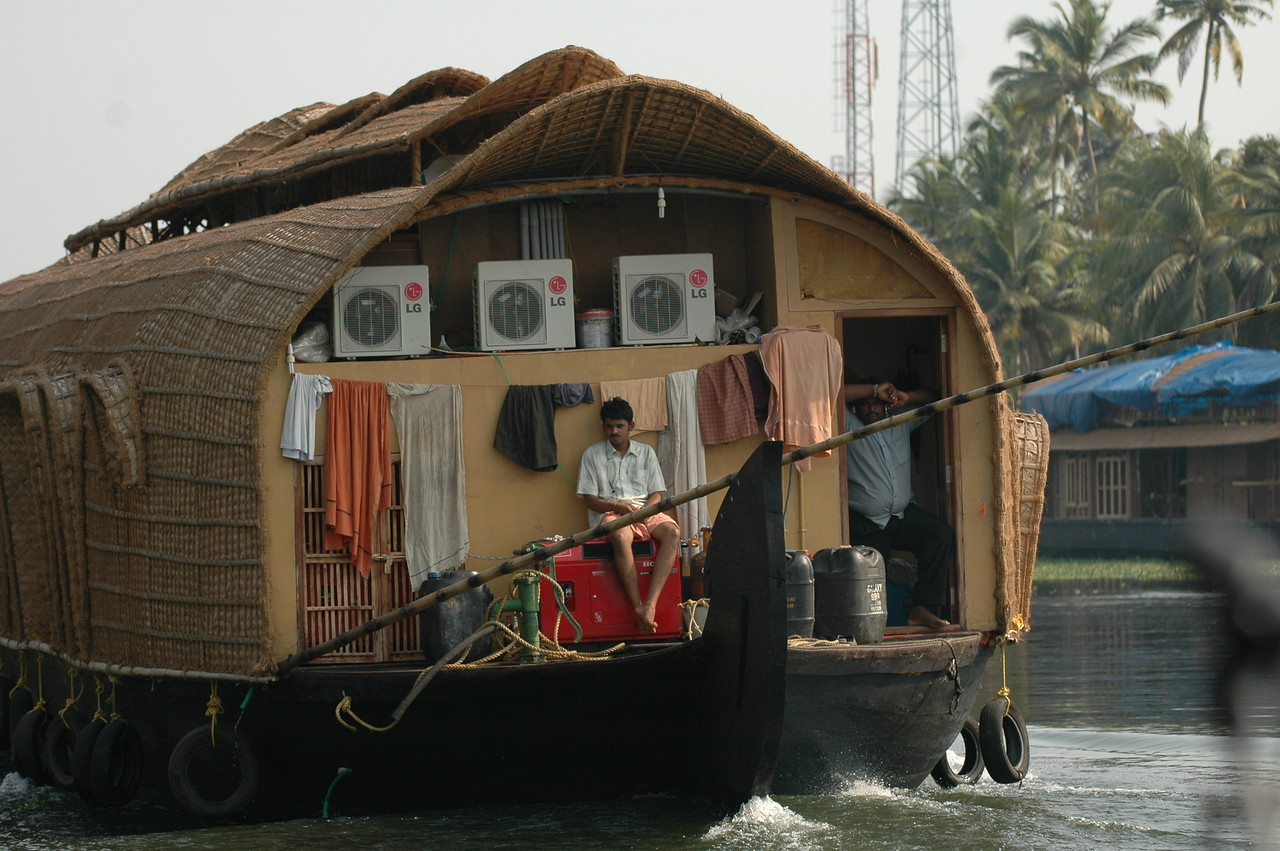The business (back) end of a houseboat on the backwaters in Kerala