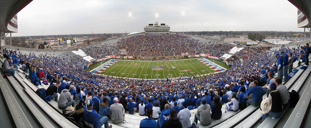 Panoramic picture of the ECU side of the stadium during the 2009 Liberty Bowl. 12 photo panoramic picture taken with a Canon 870IS stitched in CS3.