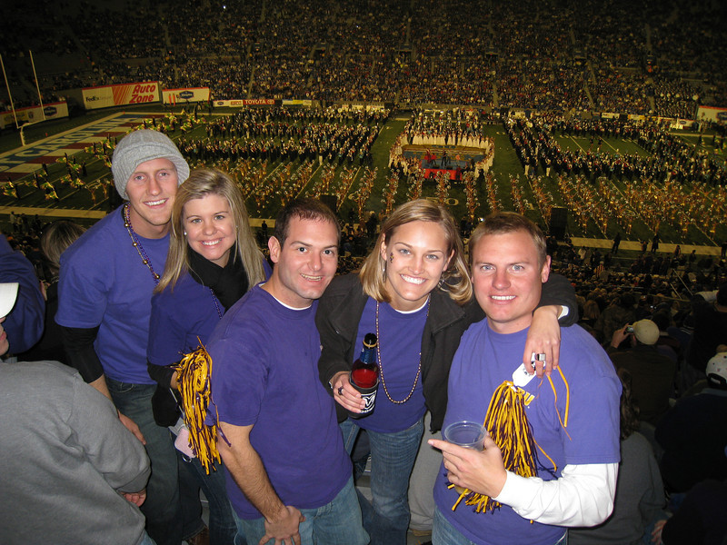 Royce, Jennifer, Jon, Stephanie and JG during halftime at the Liberty Bowl