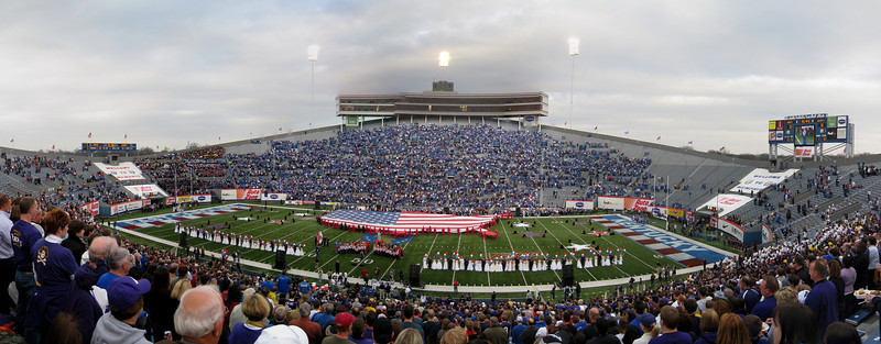 Panoramic picture of the National Anthem at the Liberty Bowl. 9 photos taken with a Canon 870IS stitched in CS3