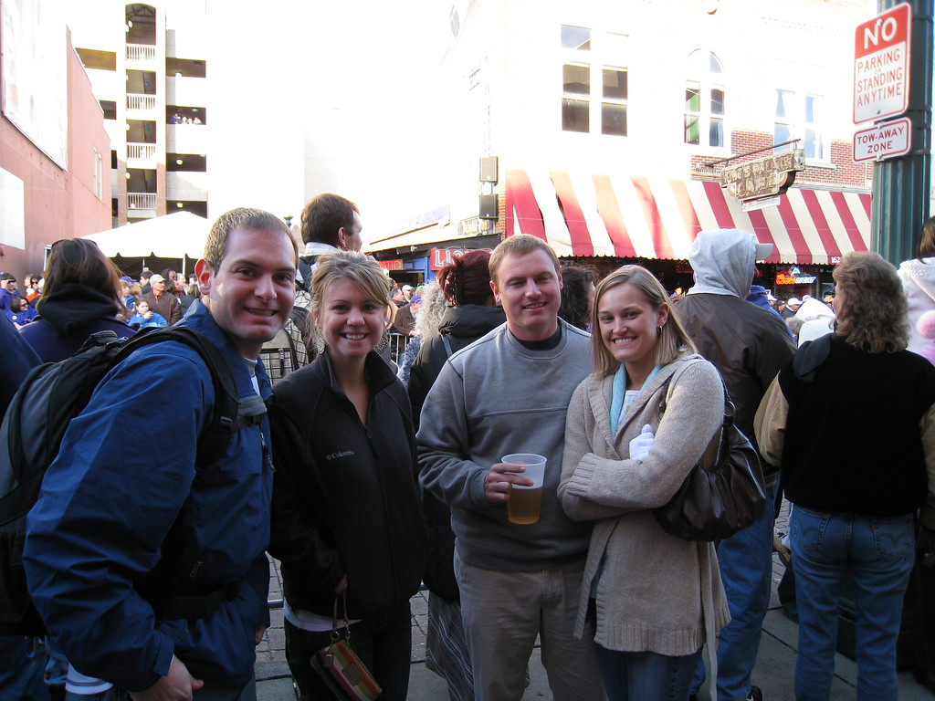 Jon, Jennifer, JG and Stephanie watching the Liberty Bowl Parade