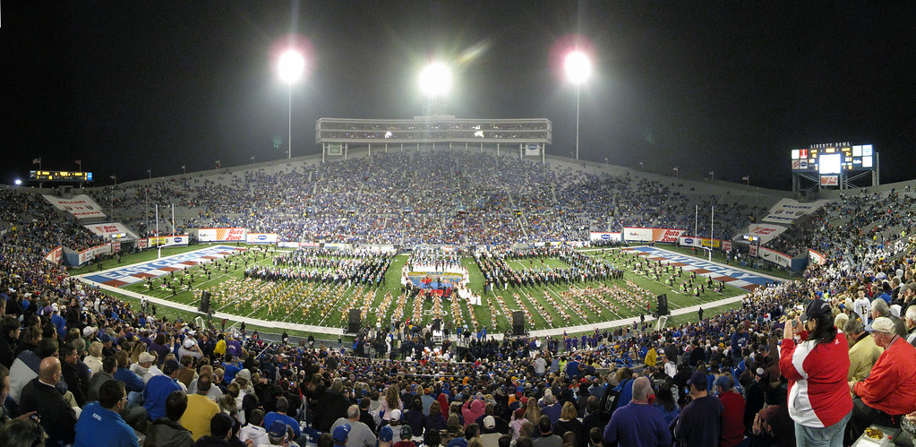 Panoramic picture of halftime with Sara Evans at the Liberty Bowl. 12 photos taken with a Canon 870IS stitched in CS3
