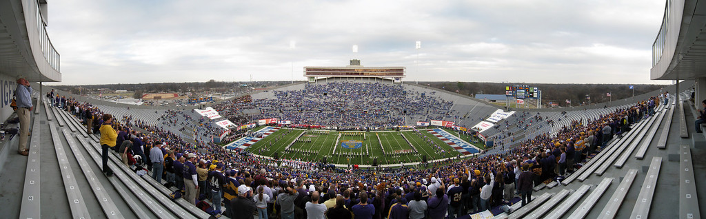 Panoramic picture of the Liberty Bowl with the ECU Marching Band on the field. 12 photos taken with a Canon 870IS stitched in CS3.