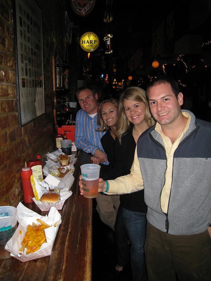 JG, Stephanie, Jennifer and Jon eating dinner on New Year's at Silky O'Sullivan's