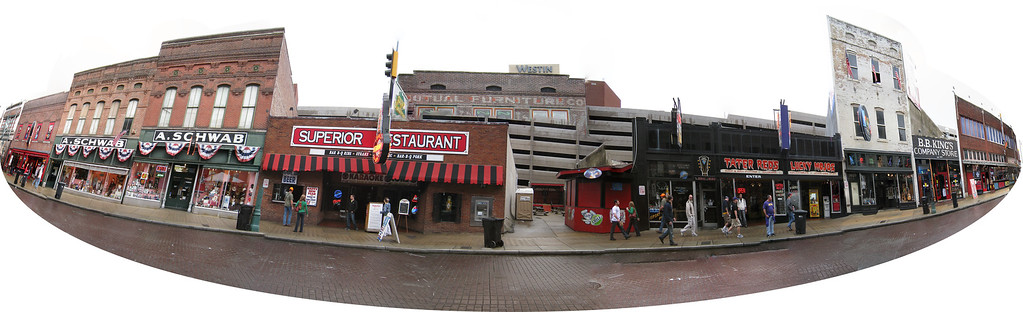 panoramic photo of one side of Beale Street. 30 photos taken with a Canon 870IS stitched in CS3.