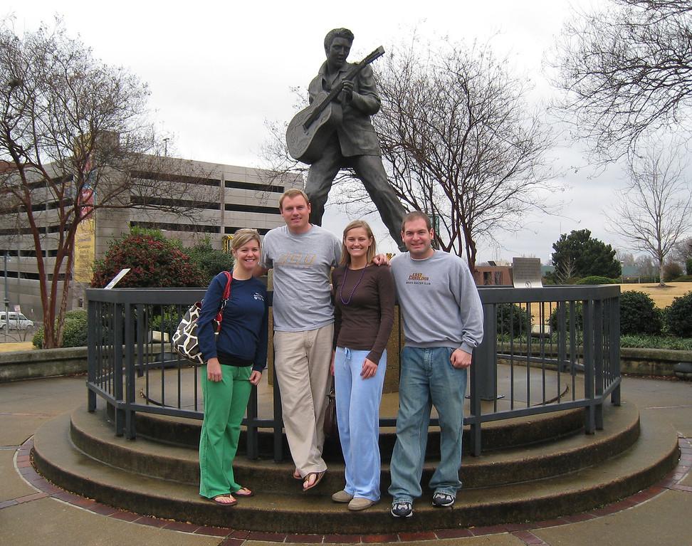 Jennifer, JG, Stephanie and Jon with Elvis