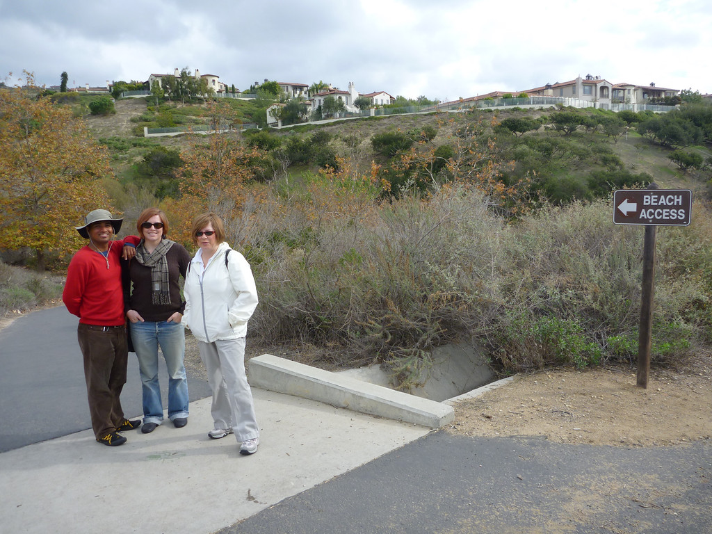 Dilip, Cheryl and Pat hiking down to the Crystal Cove beach in the park Dilip works in.