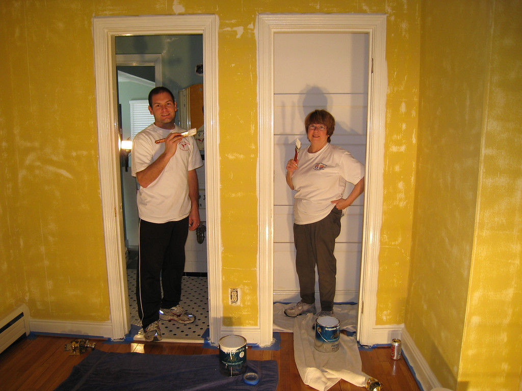 2/14/2009 - Jon w/Mom painting the office