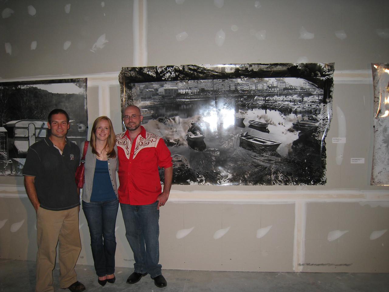 10/2/2009 - Jon Deutsch, Lauren Tipton, Shaun Irvining in front of Shaun's art at an exhibit.