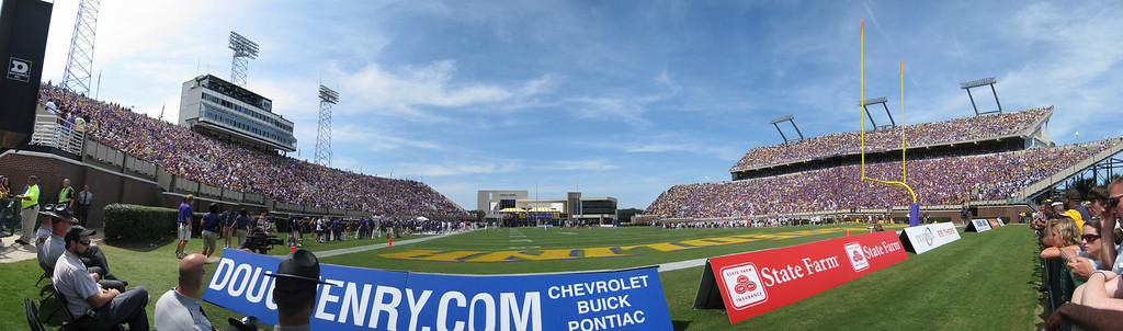 9/5/2009 - ECU Opening Weekend - panoramic of ECU's Dowdy Ficklen stadium from the scoreboard end zone.