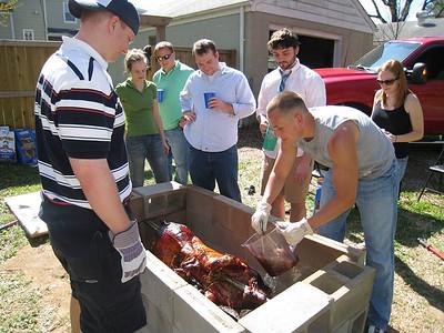 4/4/2009 - Pig picking - Justin, Jesse, Patrick Conroy, Lauren Tipton