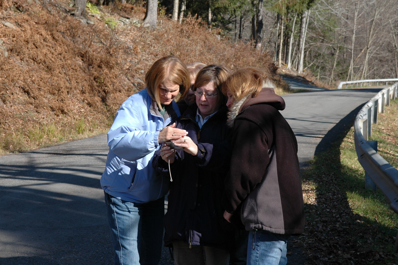 Sue, Melody, Pat and Arlene checking out photos.
