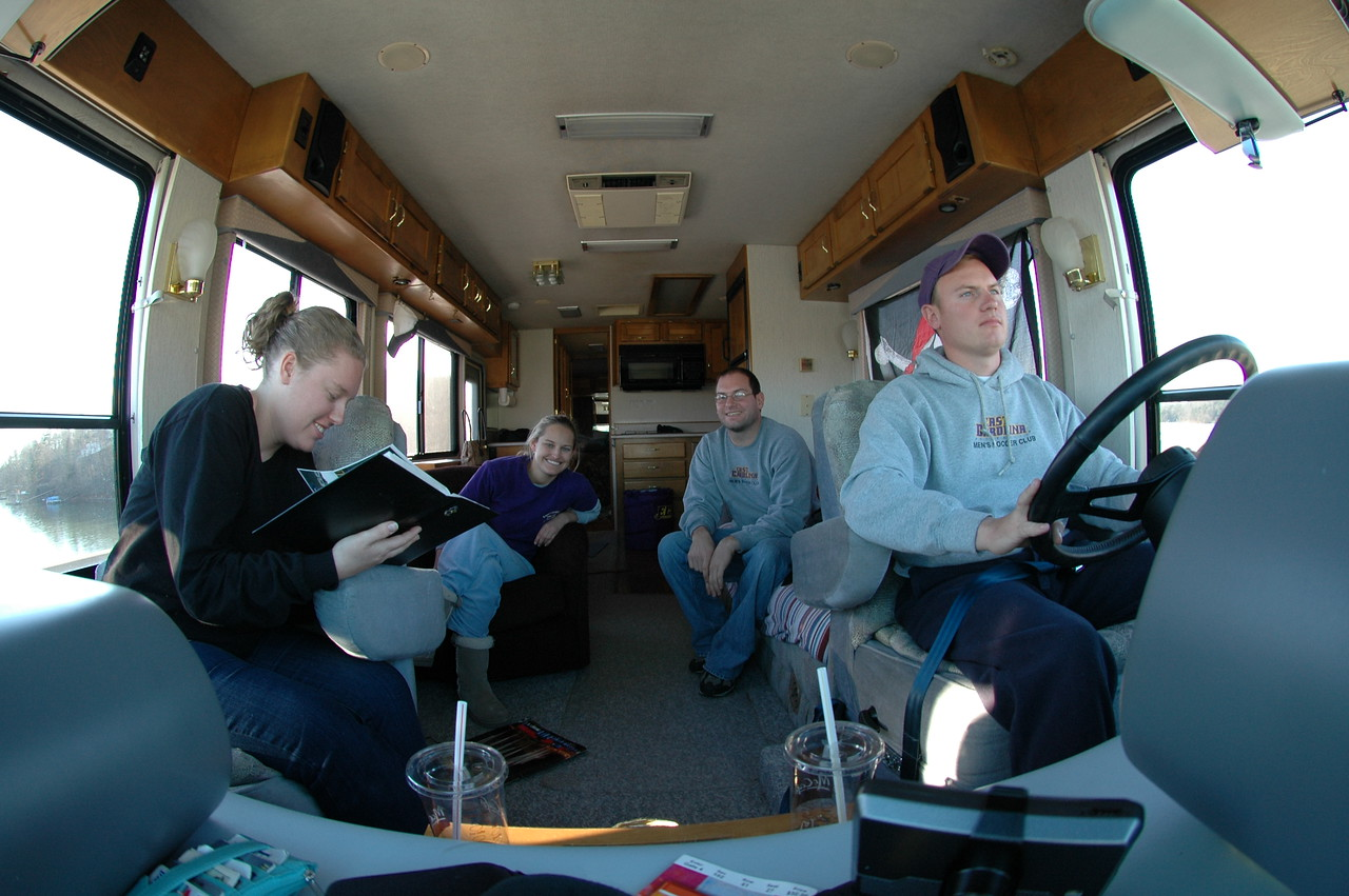 Lauren, Stephanie, Jon, JG riding in the RV home.