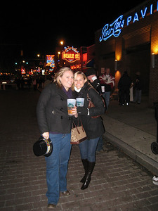 Lauren and Stephanie on Beale Street just before midnight.