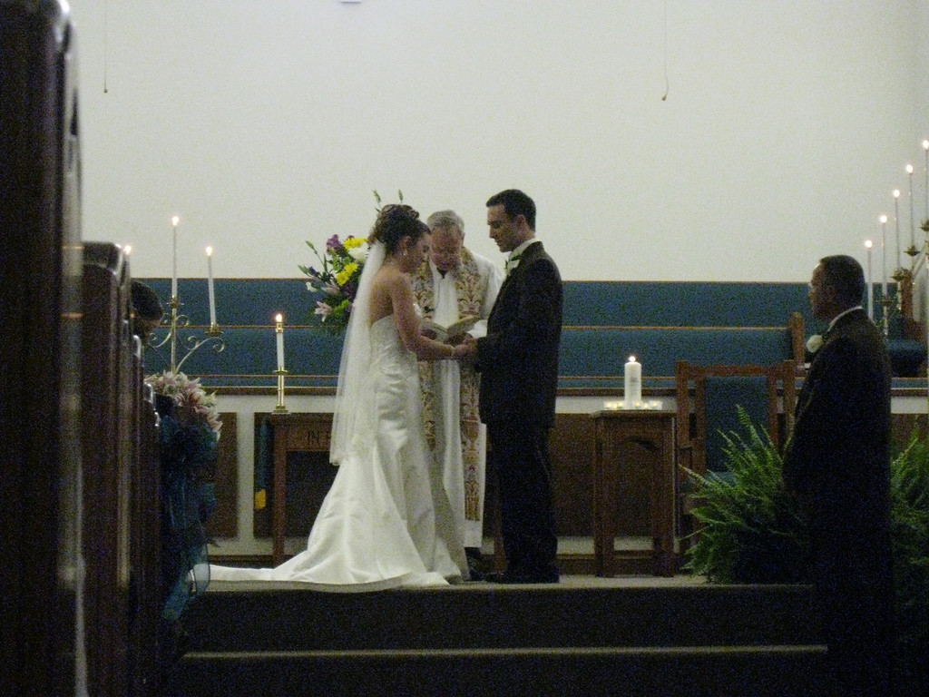 Chris and Heather at the altar.
