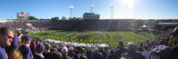 10/23/2010 ECU vs Marshall - Panoramic of the band spelling Pirates.