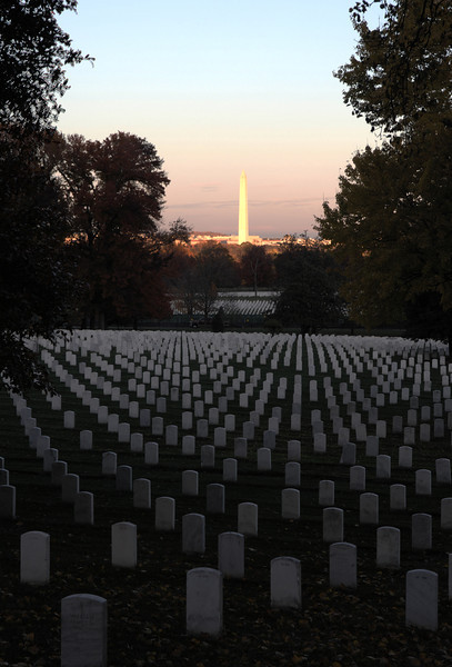 11/16/2010 - Washington Monument as seen from Arlington Cemetery.