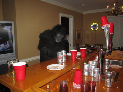Gorilla all by himself at the bar