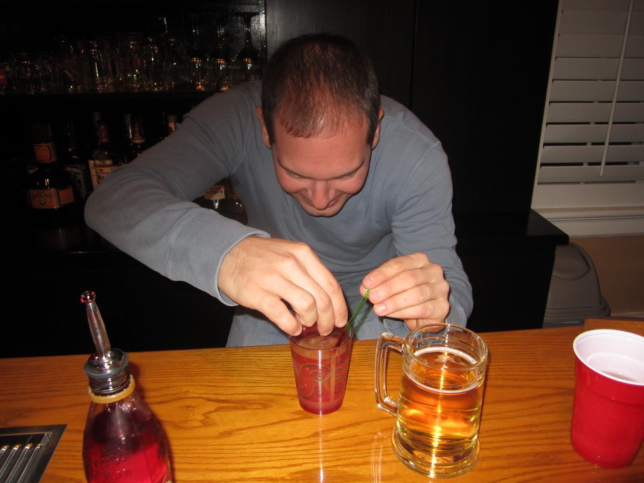 Jon making a tequila sunrise