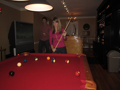 Jen at the pool table