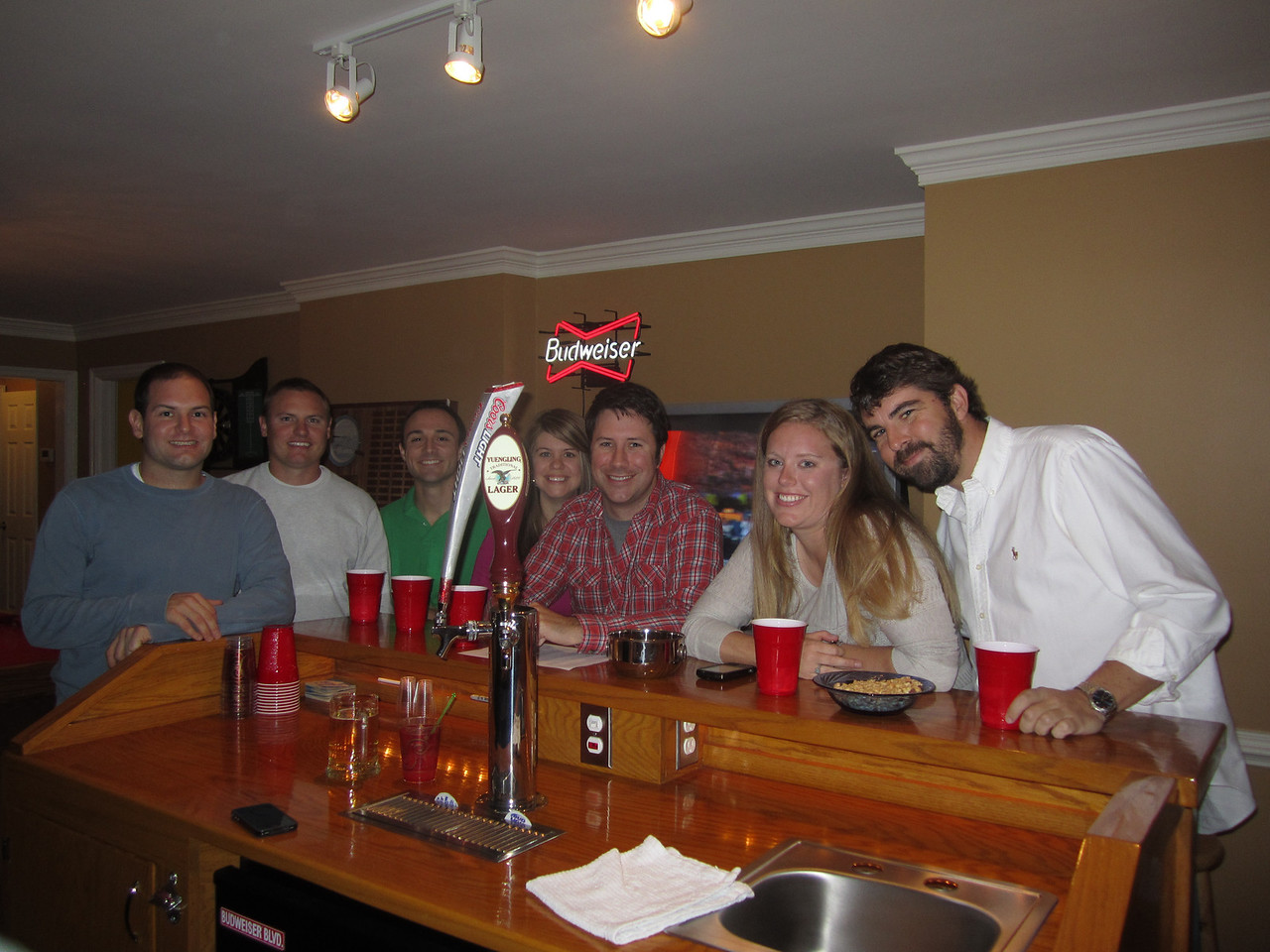 Jon, JG, Chris, Jen, Preston, Lauren and Jay at the bar