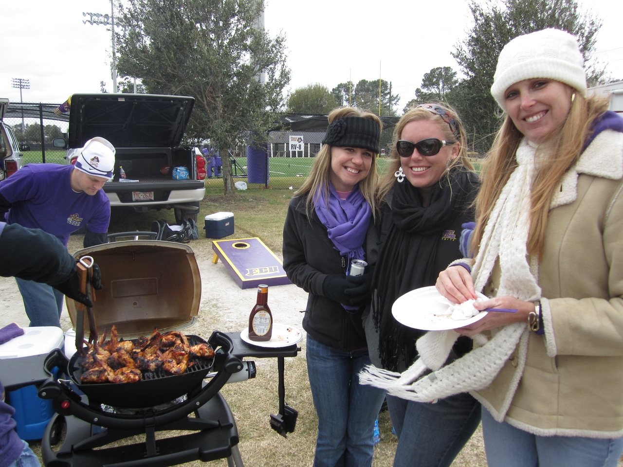 11/5/2011 ECU vs Southern Miss - chicken on the grill & Jen, Lauren, Staci