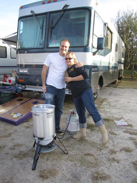 11/19/2011 ECU vs University of Central Florida - Chuck and Jess at the turkey frier