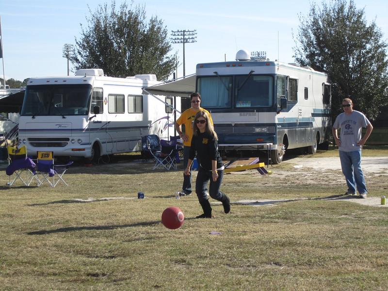 11/19/2011 ECU vs University of Central Florida - Kickball in the tailgate field - Jen at the plate