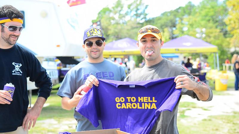 "10/1/2011 ECU vs North Carolina  Chris W with ""Go to Hell Carolina"" shirts."