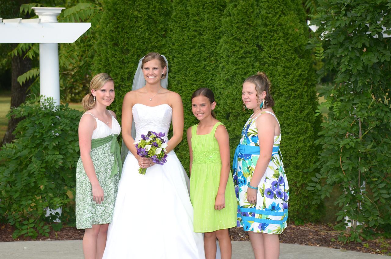 Bride and attendants, Alyson Poole, Stephanie Ferguson, Anna,