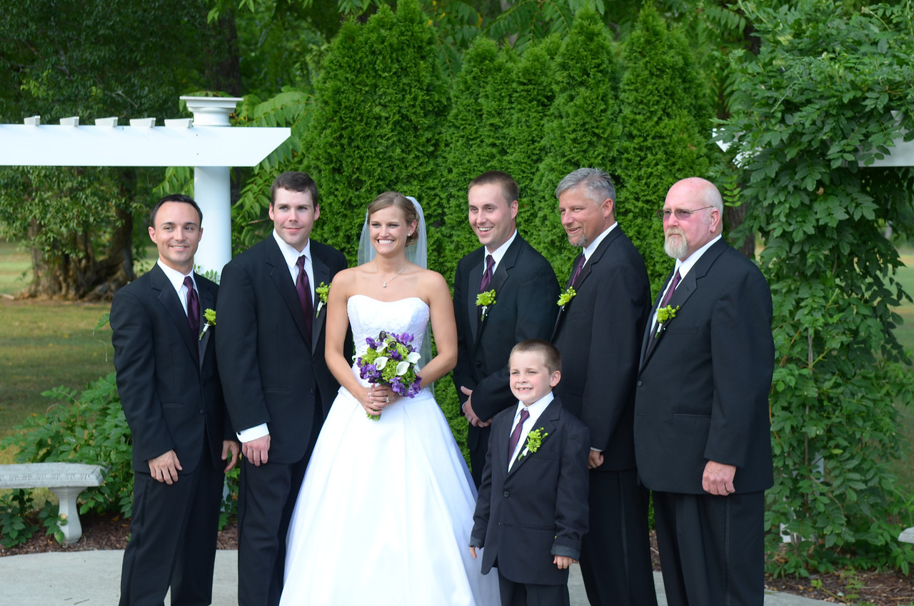 Groomsmen with the bride - Chris Webster, Marshall Quattlebaum, Stephanie Ferguson, Chris Bowling, , Jimmy Walker, Donald Poole