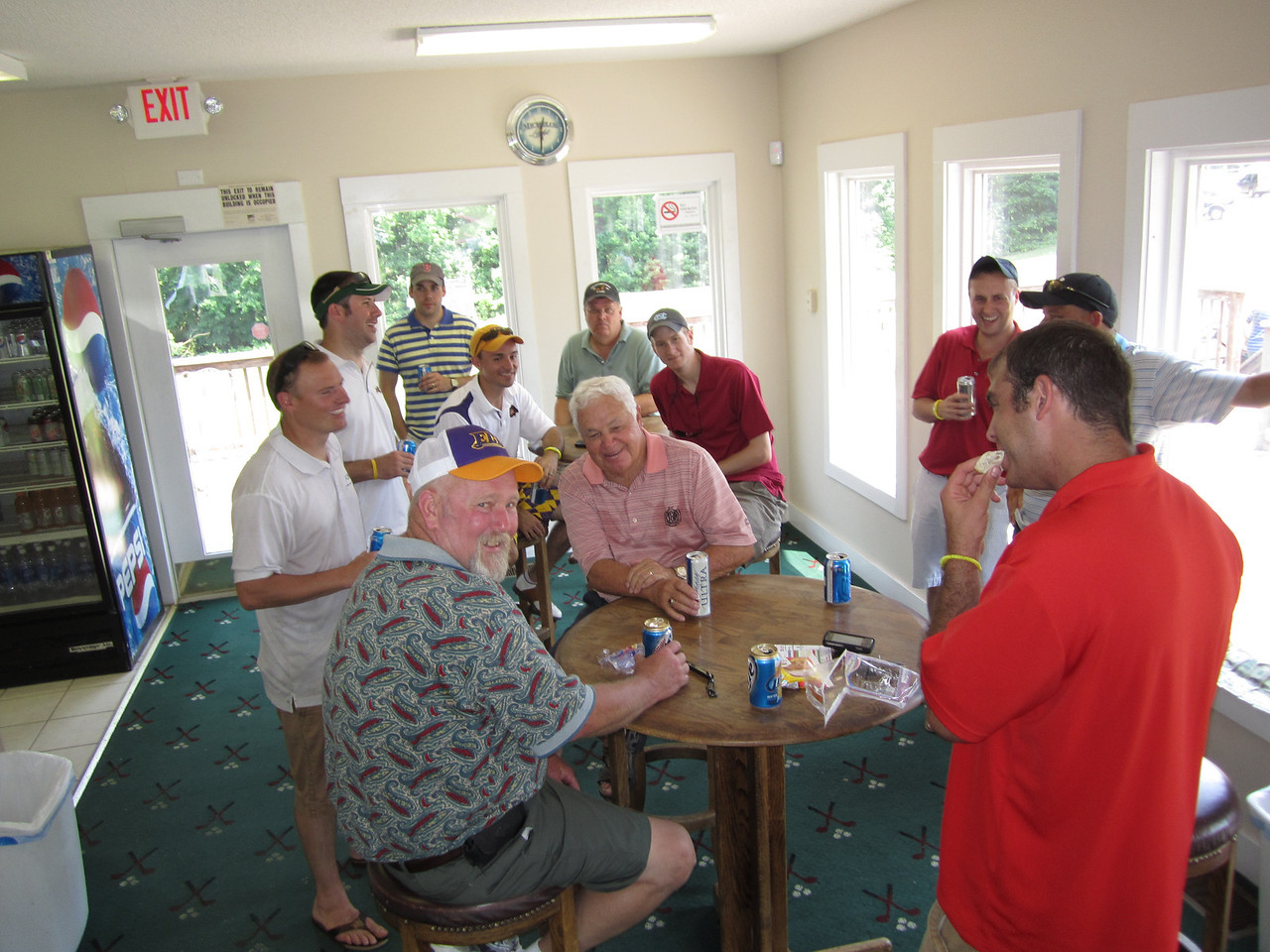 In the clubhouse after our round.