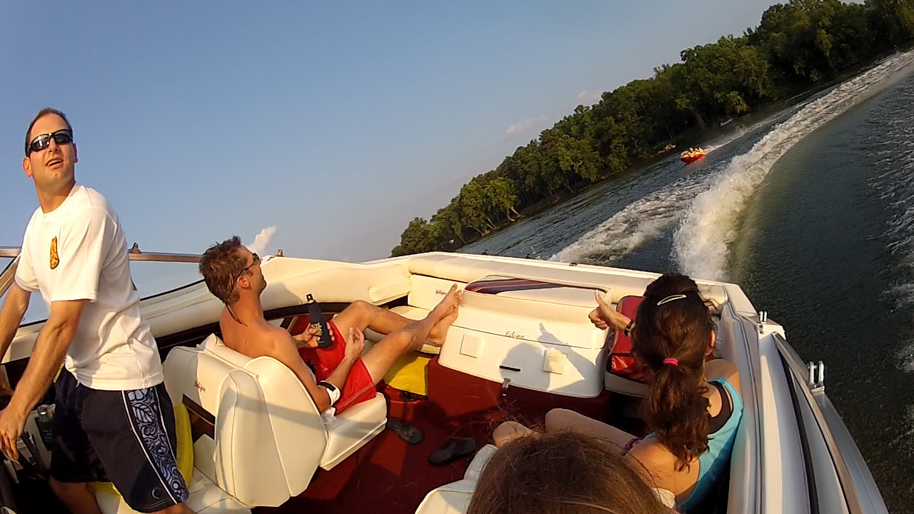 6/19 Jon at the wheel with Eric and Tayleigh watching. Caroline on the Tube.