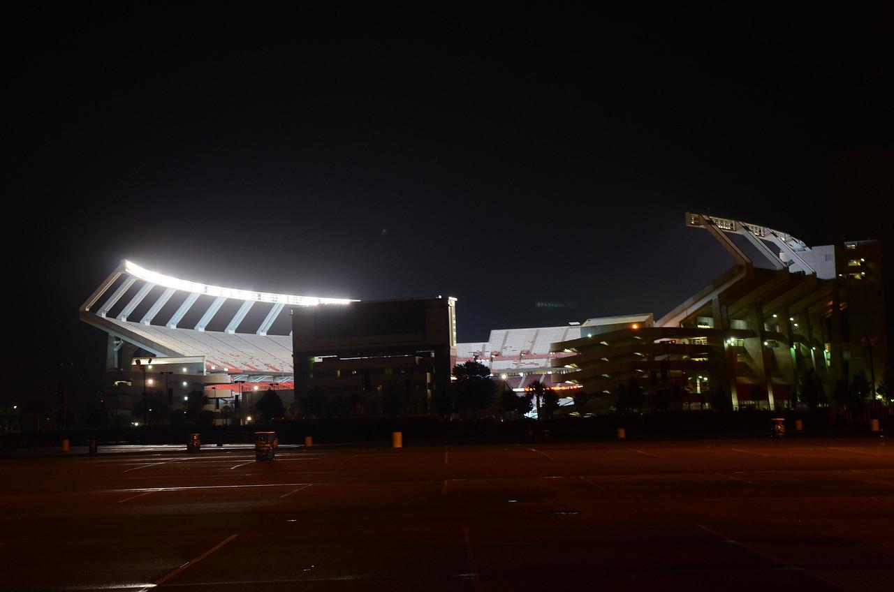 9/7 the empty stadium all lit up.