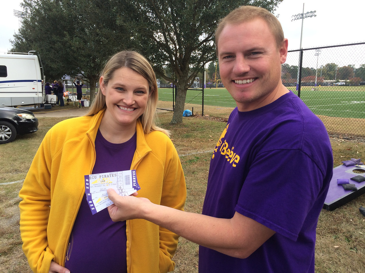 11/16 ECU vs UAB  Stephanie and JG with our handicap seats.