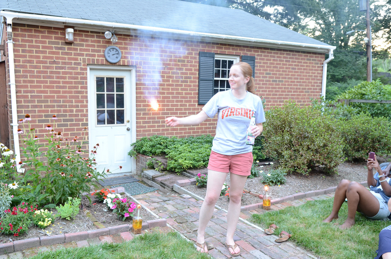 Lauren with a sparkler.