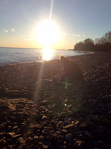 Jackie picking agates on Halloween 2014....Lake Superior beach 1